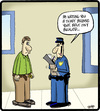 Cartoon: Belt Ticket (small) by cartertoons tagged police,crime,penalties,citations,belts,transportation,communication