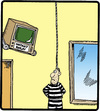 Cartoon: Instant Replay (small) by cartertoons tagged prison,jail,prisoners,death,penalty,hanging,television,entertainment,voyeurism