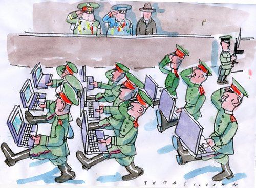 Cartoon: Army (medium) by Jan Tomaschoff tagged army,armee,soldaten,krieg,marschieren,computer,technik,internet