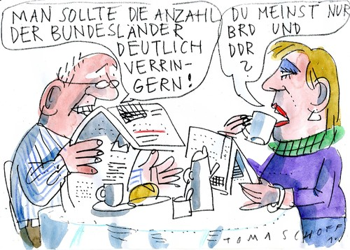 Cartoon: Bundesstaat (medium) by Jan Tomaschoff tagged föderalismus,bundesländer,föderalismus,bundesländer