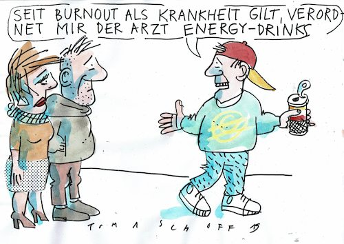Cartoon: Burnout (medium) by Jan Tomaschoff tagged krankhgeit,erschöpfung,burnout,krankhgeit,erschöpfung,burnout