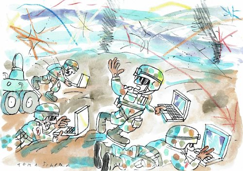 Cartoon: Cyberkrieg (medium) by Jan Tomaschoff tagged cyberkrieg,computer,cyberkrieg,computer