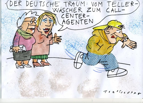 Cartoon: deutscher Traum (medium) by Jan Tomaschoff tagged karriere,armut,armut,karriere