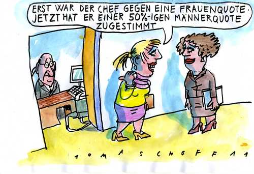 Cartoon: frauenquote (medium) by Jan Tomaschoff tagged frauenquote,arbeit,job,frauen,frauenquote,arbeit,job,frauen