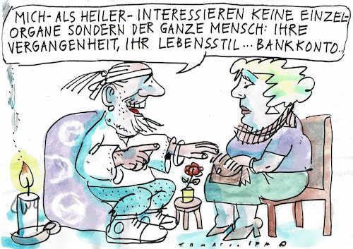 Cartoon: Heiler (medium) by Jan Tomaschoff tagged alternativmedizin,wunderheiler,geld,alternativmedizin,wunderheiler,geld