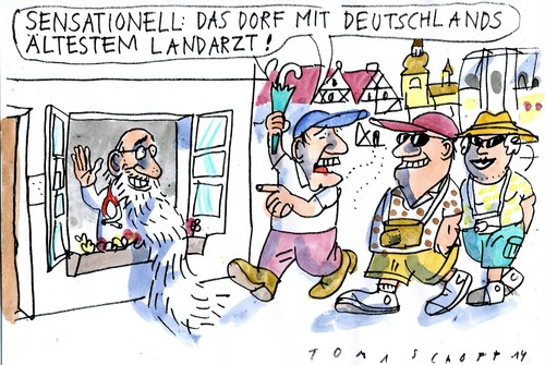 Cartoon: Landarzt (medium) by Jan Tomaschoff tagged landarztmangel,landarztmangel