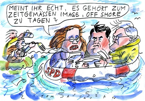 Cartoon: Off Shore (medium) by Jan Tomaschoff tagged off,shore,tagung,parteien,off shore,parteien,partei,tagung,off,shore