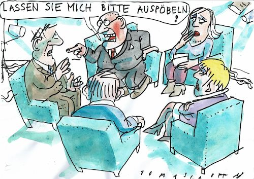Cartoon: Streitkulrultur (medium) by Jan Tomaschoff tagged diskussion,talkshow,toleranz,diskussion,talkshow,toleranz