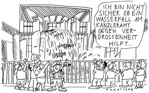 Cartoon: Wasserfall (medium) by Jan Tomaschoff tagged wasserfall,kanzleramt,politikverdrossenheit