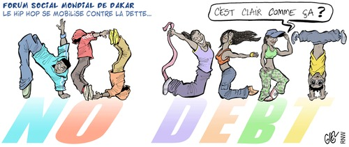 Cartoon: Forum Social Mondial De Dakar (medium) by Damien Glez tagged forum,social,mondial,dackar,hip,hop,debt