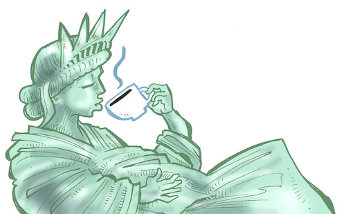 Cartoon: Lady Liberty (medium) by Damien Glez tagged lady,liberty,holiday,break