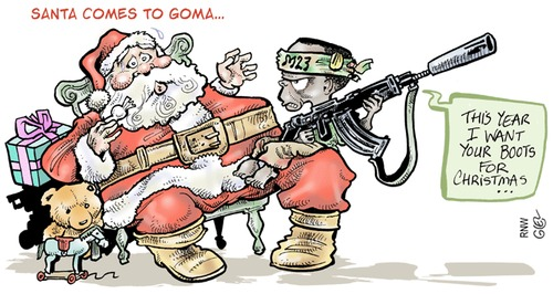 Cartoon: M23 Enfants Soldats (medium) by Damien Glez tagged goma,congo,m23,enfants,soldats,xmas,christmas,santa,claus