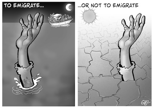 Cartoon: To emigrate or not to emigrate (medium) by Damien Glez tagged migrants,emigration,immigrant,clandestine,mediterranean,to,emigrate,migrants,emigration,immigrant,clandestine,mediterranean