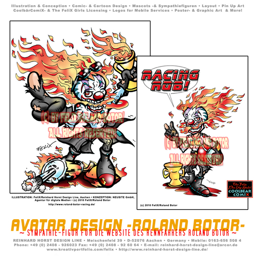 Cartoon: Avatar Roland Botor (medium) by FeliXfromAC tagged sympathie,comiczeichner,zeichner,comic,illustrator,illustration,aachen,line,design,white,blck,sw,paris,botor,roland,mann,clown,rauchen,smoke,motorsport,sketchbook,cover,skizzenbuch,artist,maler,avatar,cool,cooles,neusite,rennfahrer,horror,humor,character,