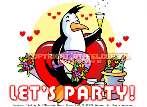 Cartoon: Lets Party (medium) by FeliXfromAC tagged nice,animals,tiere,tier,logos,sympathiefiguren,mascots,wallpapers,characters,characterdesign,figuren,hey,melde,dich,whimsical,felix,alias,design,line,red,love,herzen,beziehung,aachen,pinguin,penguine,greeting,card,birthday,
