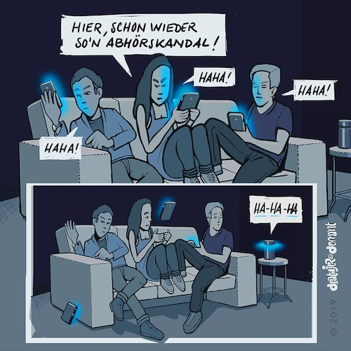 Cartoon: Abhörskandale alltäglich (medium) by Jo Drathjer tagged alexa,amazon,wanze,mikrofon,abhören,abhörskandal,lauschangriff,flauschangriff,geheimdienst,privat,intim,diskret,diskretion