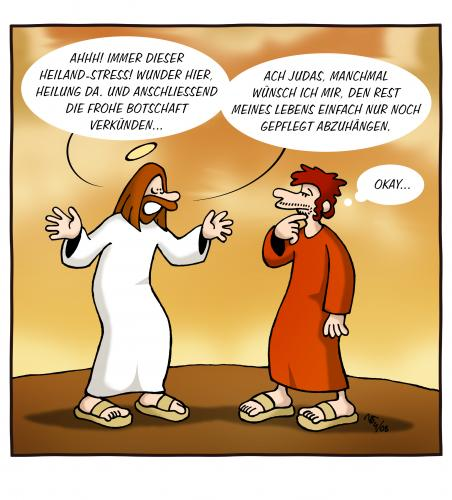 Cartoon: Abhängen (medium) by volkertoons tagged cartoon,volkertoons,humor,jesus,judas,religion,relax,relaxation,entspannung,abhängen