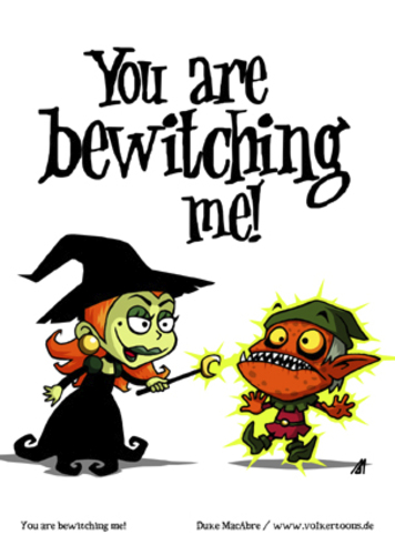 Cartoon: You are bewitching me! (medium) by volkertoons tagged volkertoons,cartoon,comic,karte,grußkarte,greeting,card,hexe,witch,gnom,goblin,zauberei,sorcery,hexerei,witchcraft,verzaubern,bewitch,lustig,spaß,humor,fun,funny