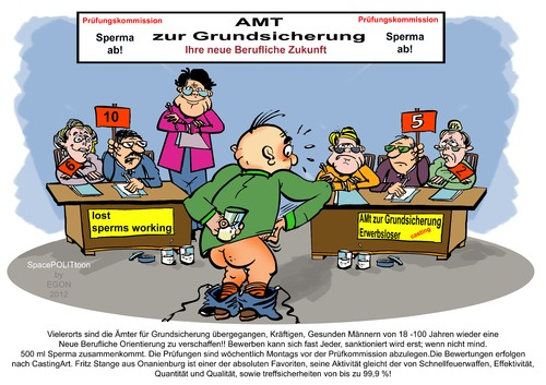 Cartoon: Onanie finanzielle Absicherung (medium) by cartoonist_egon tagged sperma,onanie,job,prüfung