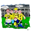 Cartoon: Der Irlläufer - The stray (small) by Tricomix tagged borrussia dortmund dynamo dresden pokalfinale bundesliga zweite fans