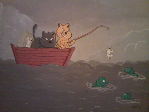 Cartoon: fishing cat (medium) by claude292 tagged cat,mouse