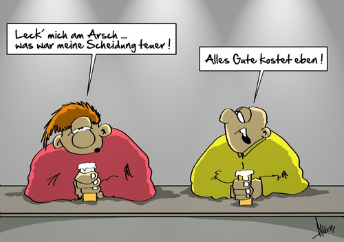 Cartoon: teure Scheidung (medium) by Marcus Gottfried tagged ehe,scheidung,geld,kosten,frau,mann,kneipe,gaststätte,bier,getränk,bedauern,stimmung,teuer,gut,wert,freiheit