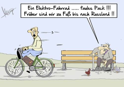 Cartoon: zu Fuss (medium) by Marcus Gottfried tagged eeg,energieerneuerungsgesetz,gesetz,atomstrom,atom,windkraft,strom,fahrrad,marcus,gottfried,cartoon,karikatur,elektrofahhrad,elektrizität,bike,bicycle,pack,russland,zu,fuss,krieg,anstrengung,bequem,jungend,alter,eeg,energieerneuerungsgesetz,gesetz,atomstrom,atom,windkraft,strom,fahrrad,marcus,gottfried,cartoon,karikatur,elektrofahhrad,elektrizität,bike,bicycle,pack,russland,zu,fuss,krieg,anstrengung,bequem,jungend,alter