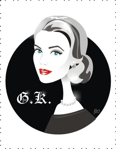 Cartoon: Grace Kelly Princess of Monaco (medium) by Nicoleta Ionescu tagged grace,kelly,princess,academy,movie,award,hitchcock,film,glamour,beauty,fashion,icon
