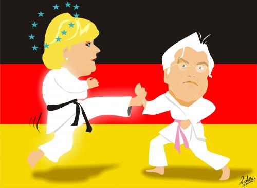 Cartoon: Merkel and Steinmeier (medium) by Nicoleta Ionescu tagged angela,merkel,frank,walter,steinmeier
