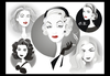 Cartoon: Golden Age Glamour Collage (small) by Nicoleta Ionescu tagged ava,gardner,catherine,deneuve,marlene,dietrich,veronica,lake,grace,kelly,golden,age,glamour,hollywood,movie,act,actress,beauty