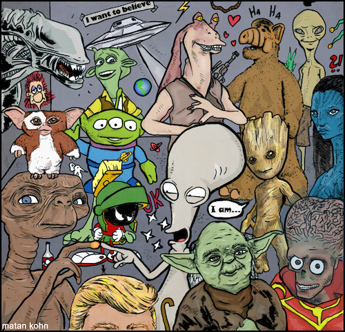 Cartoon: aliens (medium) by matan_kohn tagged alien,movie,film,funny,et,avatar,alf,ufo,trump,groot,starwars,startrek,illustration,scatch,drawing,digitalart