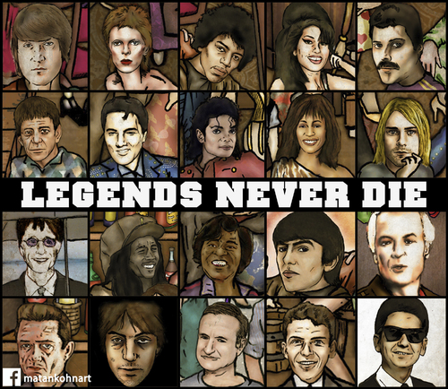 Cartoon: Legends never die (medium) by matan_kohn tagged amy,beatles,bee,bowie,cobain,court,david,elvis,frank,freddy,gee,georg,harrison,huston,jackson,jimmi,john,kohn,lennon,lou,matan,mercury,michael,presley,read,robbin,sinatra,handrix,whiliams,wainhowse,whithny