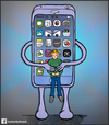Cartoon: Siri is dead (small) by matan_kohn tagged phone,mobile,computers,kids,end,world,sad,funny,holding,siri,technology,iphone,matan,kohn