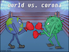 Cartoon: World vs corona (small) by matan_kohn tagged corona,coronavirus,world,boxing,caricature,europe,virus,fight,politics,war,illustration,disease,epidemic,art,china,italy,sad