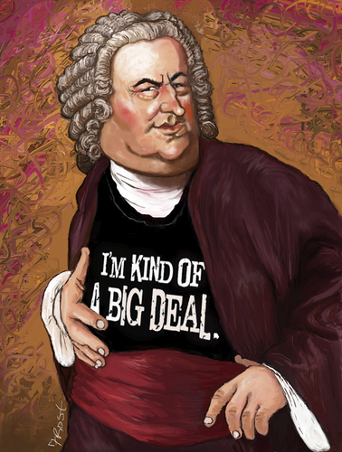 Cartoon: big deal (medium) by frostyhut tagged bach,music,classical,wig,piano,keyboard,harpsichord,orchestra,composer