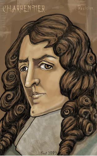 Cartoon: Marc-Antoine Charpentier (medium) by frostyhut tagged charpentier,classical,french,music,baroque