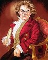Cartoon: Beethoven in Chair with Quill (small) by frostyhut tagged beethoven,classical,composer,hair,genius,hero,german,music,conductor,symphony,orchestra,sonata,chambermusic,famous,jacket,19thcentury