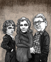Cartoon: The Amis Family (small) by frostyhut tagged amis,martin,kingsley,howard,jacket,sweater,woman,writers,authors,novelist