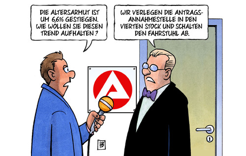 Cartoon: Altersarmut (medium) by Harm Bengen tagged altersarmut,anstieg,antrag,arbeitsamt,fahrstuhl,harm,bengen,cartoon,karikatur,altersarmut,anstieg,antrag,arbeitsamt,fahrstuhl,harm,bengen,cartoon,karikatur