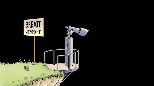 Cartoon: Brexit-Aussicht (medium) by Harm Bengen tagged brexit,aussicht,viewpoint,klippe,cliff,black,fernrohr,uk,gb,harm,bengen,cartoon,karikatur,brexit,aussicht,viewpoint,klippe,cliff,black,fernrohr,uk,gb,harm,bengen,cartoon,karikatur