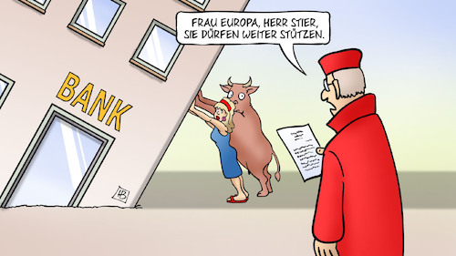 Cartoon: BVerfG und Banken (medium) by Harm Bengen tagged bverfg,banken,europa,stier,stützen,richter,bankenunion,ezb,harm,bengen,cartoon,karikatur,bverfg,banken,europa,stier,stützen,richter,bankenunion,ezb,harm,bengen,cartoon,karikatur
