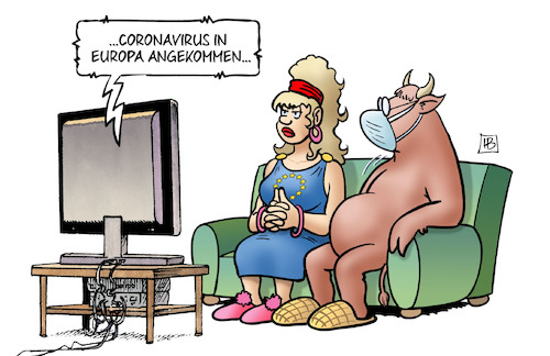 Cartoon: Coronavirus in Europa (medium) by Harm Bengen tagged europa,stier,tv,coronavirus,china,krankheit,pandemie,panik,harm,bengen,cartoon,karikatur,europa,stier,tv,coronavirus,china,krankheit,pandemie,panik,harm,bengen,cartoon,karikatur