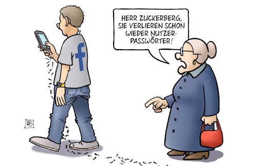 Cartoon: Facebook-Datenpanne (medium) by Harm Bengen tagged facebook,datenpanne,zuckerberg,handy,nutzer,user,password,passwörter,susemil,harm,bengen,cartoon,karikatur,facebook,datenpanne,zuckerberg,handy,nutzer,user,password,passwörter,susemil,harm,bengen,cartoon,karikatur