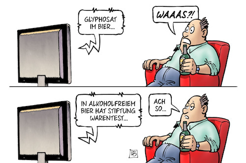 Cartoon: Glyphosat-Alkoholfrei (medium) by Harm Bengen tagged glyphosat,alkoholfreies,bier,stiftung,warentest,tv,unkrautvernichtungsmittel,gift,harm,bengen,cartoon,karikatur,glyphosat,alkoholfreies,bier,stiftung,warentest,tv,unkrautvernichtungsmittel,gift,harm,bengen,cartoon,karikatur
