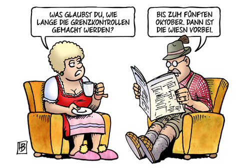 Cartoon: Grenzkontrollen und Wiesn (medium) by Harm Bengen tagged grenzkontrollen,oktober,oktoberfest,muenchen,wiesn,migration,einreise,fluechtlinge,asyl,harm,bengen,cartoon,karikatur,grenzkontrollen,oktober,oktoberfest,muenchen,wiesn,migration,einreise,fluechtlinge,asyl,harm,bengen,cartoon,karikatur