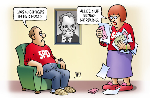 Cartoon: Groko-Werbung (medium) by Harm Bengen tagged groko,werbung,spd,brandt,harm,bengen,cartoon,karikatur,groko,werbung,spd,brandt,harm,bengen,cartoon,karikatur