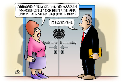 Cartoon: Kreisverkehr (medium) by Harm Bengen tagged kreisverkehr,ausschuss,bundestag,geheimdienste,verfassung,belege,hetzjagden,maaßen,verfassungsschutzpräsident,seehofer,chemnitz,vertuschung,video,nazis,afd,rechtsradikalismus,harm,bengen,cartoon,karikatur,kreisverkehr,ausschuss,bundestag,geheimdienste,verfassung,belege,hetzjagden,maaßen,verfassungsschutzpräsident,seehofer,chemnitz,vertuschung,video,nazis,afd,rechtsradikalismus,harm,bengen,cartoon,karikatur
