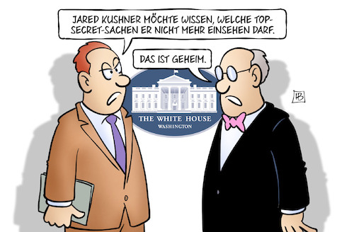Cartoon: Kushners Sicherheitsfreigabe (medium) by Harm Bengen tagged jared,kushner,sicherheitsfreigabe,top,secret,geheim,weisses,haus,trump,schwiegersohn,harm,bengen,cartoon,karikatur,jared,kushner,sicherheitsfreigabe,top,secret,geheim,weisses,haus,trump,schwiegersohn,harm,bengen,cartoon,karikatur