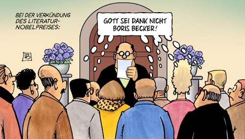 Cartoon: Literatur-Nobelpreis (medium) by Harm Bengen tagged verkündung,literaturnobelpreises,nobelpreis,boris,becker,literatur,buch,buchmesse,stockholm,frankfurt,2013,harm,bengen,cartoon,karikatur,verkündung,literaturnobelpreises,nobelpreis,boris,becker,literatur,buch,buchmesse,stockholm,frankfurt,2013,harm,bengen,cartoon,karikatur
