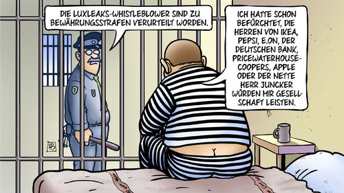 Cartoon: LuxLeaks-Urteil (medium) by Harm Bengen tagged whistleblower,luxleaks,urteil,bewaehrungsstrafen,knast,gefaengnis,ikea,pepsi,eon,deutschen,bank,pricewaterhousecoopers,juncker,harm,bengen,cartoon,karikatur,whistleblower,luxleaks,urteil,bewaehrungsstrafen,knast,gefaengnis,ikea,pepsi,eon,deutschen,bank,pricewaterhousecoopers,juncker,harm,bengen,cartoon,karikatur